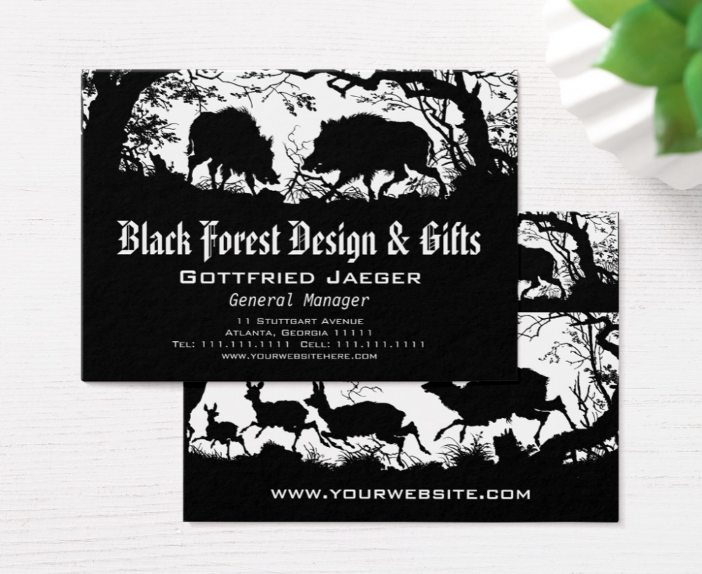 Elegant Wild Boar and Deer Bavarian Style German Business Cards ...