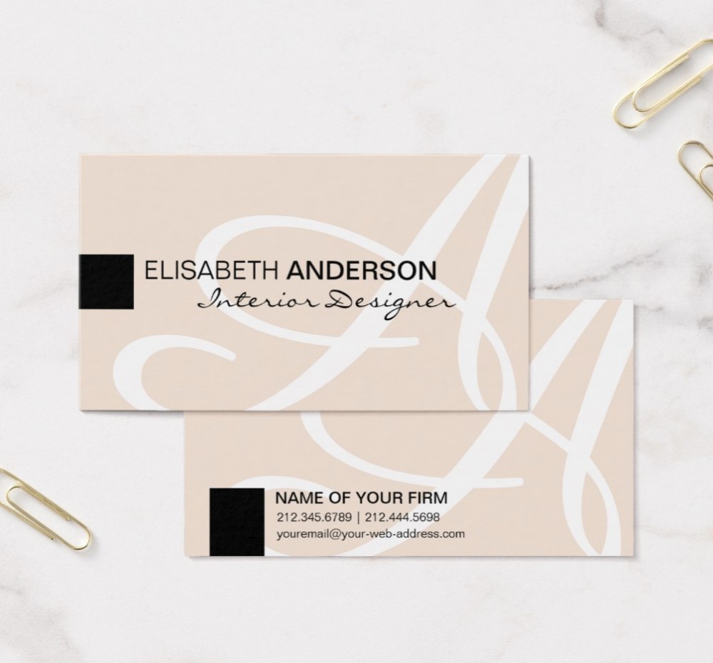 Modern Minimalist Monogram Classic Business Cards – Antique Images