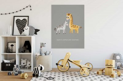 Zebra and Giraffe Baby Animals Safari Poster