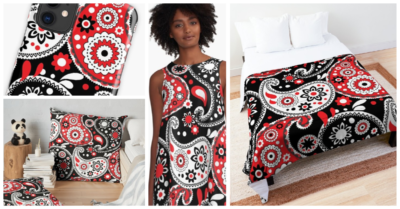 Modern Cowgirl Red and Black Paisley Designs