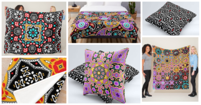 Colorful Boho Chic Throw Pillows and Blankets